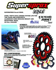 Supersprox Edge Rear Sprocket (520 Conversion) 2014-2016 Ducati Hypermotard 821 / Hyperstrada 821