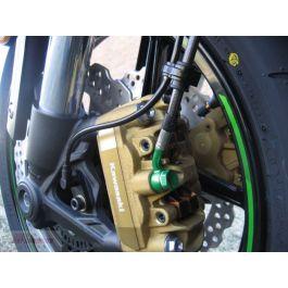 Kawasaki Green Hose /& Stainless Banjos Pro Braking PBK0079-KAW-SIL Front//Rear Braided Brake Line